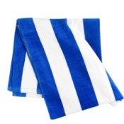 Blue and white striped beach towel.