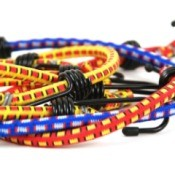 Colorful bungee cords on white background