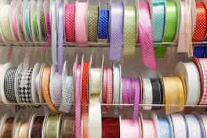 Man spools of grosgrain ribbons