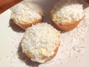 finished Coconut Frosted cupcakes