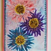 Fork Printed Flower Birthday Card - finished design glued onto card base