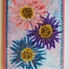 Fork Printed Flower Birthday Card - finished design glued onto card base