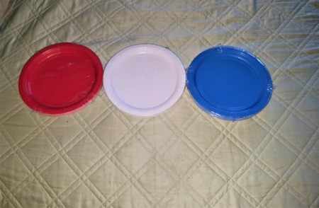 Red, White, and Blue Star Window Decor - red, white, and blue paper plates