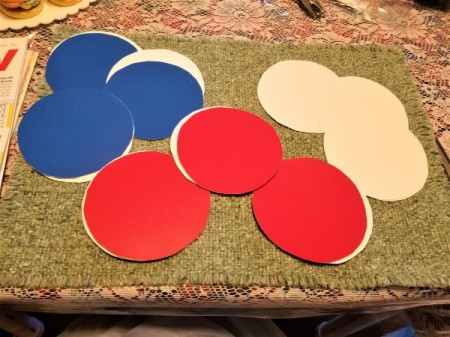 Red. White. and Blue Star Window Decor - circles
