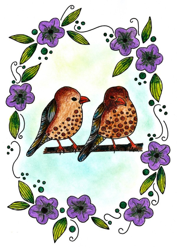 Two Birds In A Floral Wreath Adult Coloring Page Thriftyfun