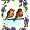 Two Birds in a Floral Wreath Adult Coloring Page - beautifully finished coloring page