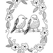 Two Birds in a Floral Wreath Adult Coloring Page