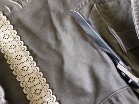 How to Turn Pants Into Shorts and a Bag  - cut pant legs off below the pocket