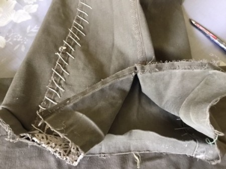 How to Turn Pants Into Shorts and a Bag  - open one side seam on each leg