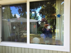 Red, White, and Blue Star Window Decor
