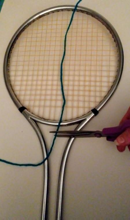 Tennis Racket Weaving  - cut yarn long enough to tie on back