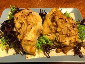 Saffron Onion Chicken on lavash bread