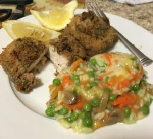 Lemon Basil Crusted Swordfish on dinner plate