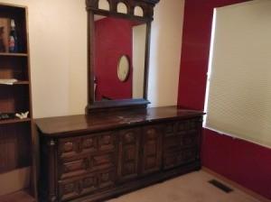 Value of Vintage Dressers - dark wood vintage mirrored dresser