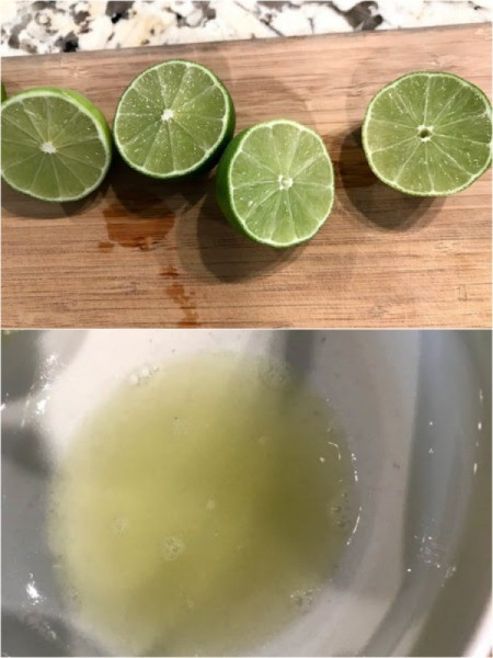 cutting limes and squeezing juice