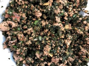 Ground Pork Tossed with Herbs on plate