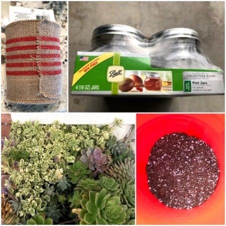 Succulent Planter Gift - collage of supplies