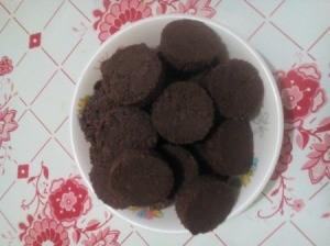 Choco-Peanut Polvoron piled on plate