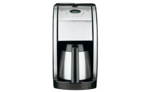 Stainless steel coffee maker.