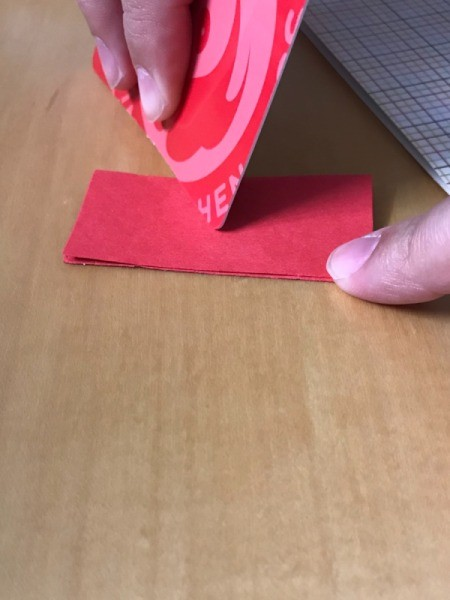 Old Gift Cards as Paper Creasing Tool