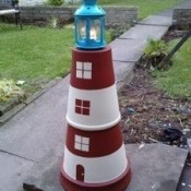 A terra cotta lighthouse.