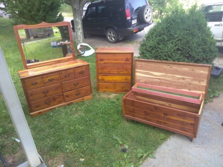 Value of 1940s Murphy Cedar Bedroom Furniture - pieces outside