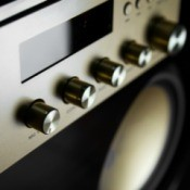 Close up of Audio system knobs.