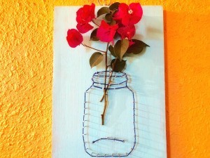 Yarn and Nail Wall-Hanging Vase - hang on wall
