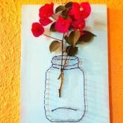 Yarn and Nail Wall-Hanging Vase - hang on wall