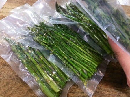Asparagus in vacuum sealed bags.