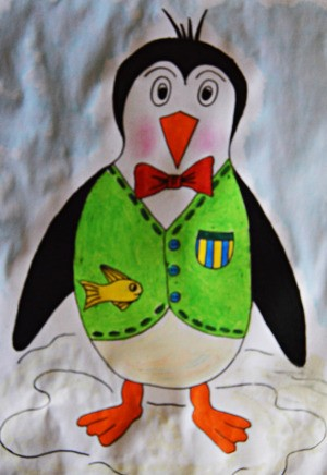 Happy Penguin Kids' Coloring Page - colored penguin, watercolors perhaps markers