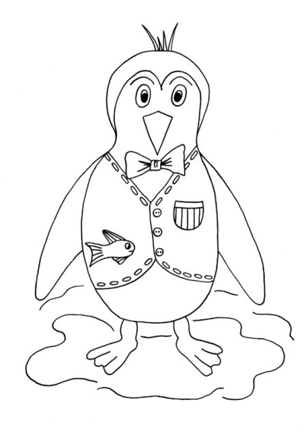 Happy Penguin Kids' Coloring Page