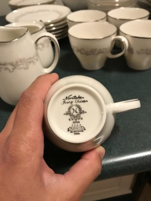 Finding the Value of Fine China - Noritake logo on bottom of a cup