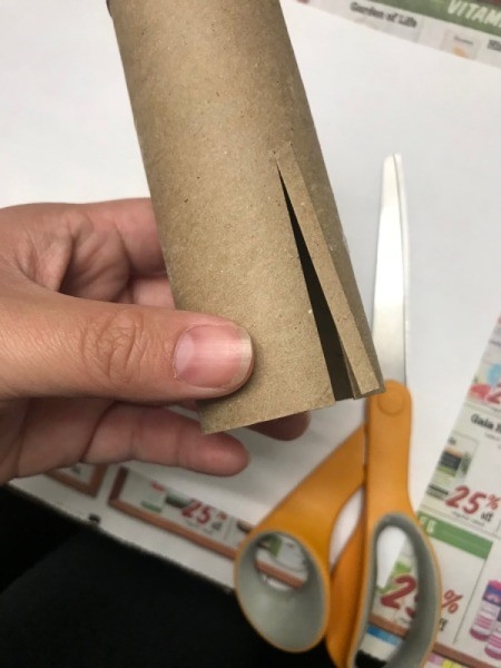 Toilet Paper Roll Fireworks Artwork  - cut slits in one end of roll