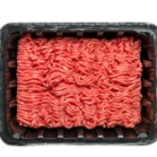 Plastic Meat Tray with ground beef.