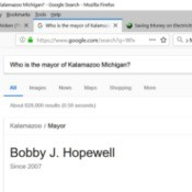 "Google's search result for ""Who is the Mayor of Kalamazoo?"""