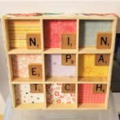 Scrabble Nine Patch Shadow Box - finished shadow box with paper on the edges