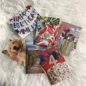 Greeting Cards from Magazines - cards displayed on faux fur background