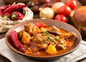 Hungarian Goulash in a bowl.