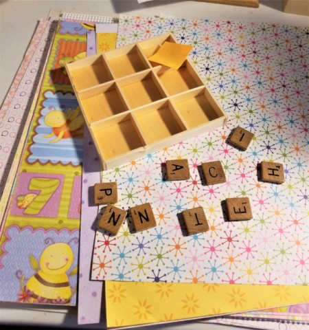 Scrabble Nine Patch Shadow Box - supplies