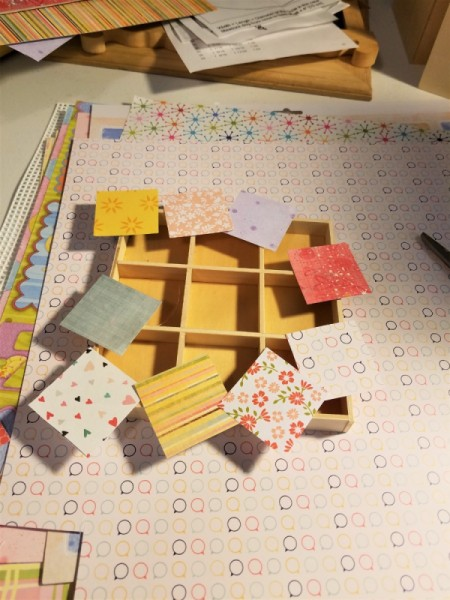 Scrabble Nine Patch Shadow Box - glue paper squares in the box sections