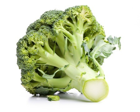 Head of broccoli on white.