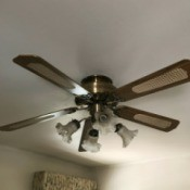A ceiling fan that is not moving.