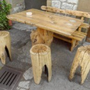 Tree Stump table and chairs.