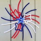 Chenille Stem Firework and Star Decorations - one finished firework design hanging