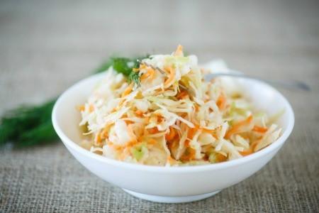 Sauerkraut in a white bowl.