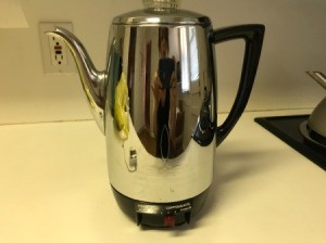 A percolator that was purchased at a thrift store.