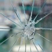 Broken window glass.