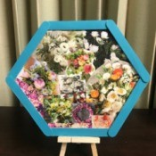 Floral Framed Collage - hexagon on a small easel