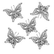 Swarm of Ornamental Butterflies - coloring page with five butterflies